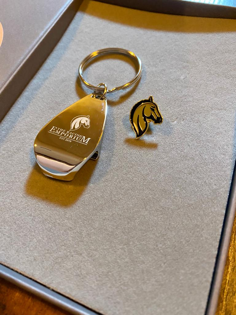 Keyring Bottle Opener & Enamel Pin Badge Gift Set